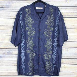 Tommy Bahama Hawaiian Silk Linen Embroidered Shirt